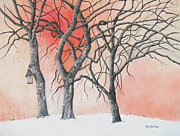 Bare Trees Drawings Metal Prints - The Honesty of Winter Metal Print by MaryAnn Stafford