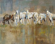 Herd Of Horses Paintings - The Horizon Line by Frances Marino