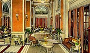 Cincinnati Painting Framed Prints - The Hotel Gibson Lounge In Cincinnati Oh C.1920 Framed Print by Dwight Goss