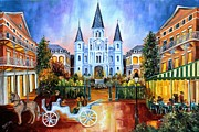 City Buildings Painting Posters - The Hours on Jackson Square Poster by Diane Millsap