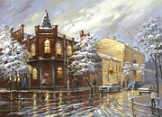 Rainy Street Painting Framed Prints - The house 44 or silver night Framed Print by Dmitry Spiros