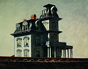 Vernacular Architecture Painting Posters - The House by the Railroad Poster by Edward Hopper