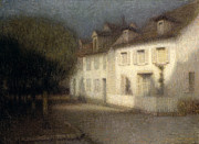 Lit Paintings - The House by Henri Eugene Augstin Le Sidaner