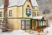 Chimneys Digital Art Prints - The House in a Winter Wonderland Print by Liam Liberty