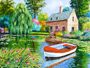 Weeping Willow Posters - The House Pond Poster by Jean-Marc Janiaczyk
