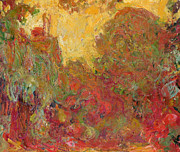 Green Color Art - The House seen from the Rose Garden by Claude Monet