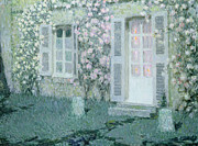 Post-impressionism Paintings - The House with Roses by Henri Eugene Augustin Le Sidaner