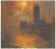 The Houses Of Parliament Sunset Print by Claude Monet