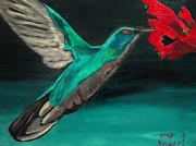 Hummingbird Paintings - The hummingbird by Lisa Brandel