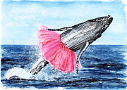 Humpback Whale Painting Framed Prints - The Humpback Ballerina Framed Print by Carlo Ghirardelli