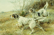 Animal Themes Paintings - The Hunt by Edmund Henry Osthaus