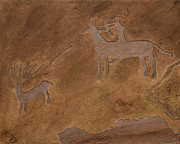American Indian Reliefs Posters - The Hunt Poster by Katie Fitzgerald