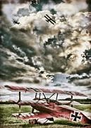 Biplane Acrylic Prints - The Hunter Acrylic Print by Peter Chilelli