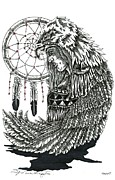 Dreamcatcher Drawings - The Hunter Who Catches Dark Spirits by Louis McCollum