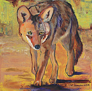 Coyote Art Paintings - The Hunting Coyote by Pat Saunders-White