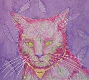 Furry Felines Painting Prints - The Huntress Print by Rhonda Leonard