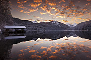 Water Reflections Metal Prints - The hut by the lake Metal Print by Jorge Maia