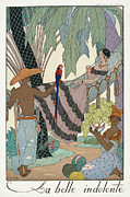 Servants Painting Framed Prints - The idle beauty Framed Print by Georges Barbier
