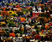 Autumn Trees Prints - The Immaculate Conception Church of Seattle Print by Benjamin Yeager