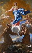 Virgin Mary Prints - The Immaculate Conception with Saints Francis of Assisi and Anthony of Padua Print by Il Grechetto