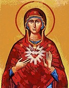 Religious Icons Paintings - The Immaculate Heart of Mary by Dragica  Micki Fortuna