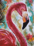Flamingo Paintings - The Imposter by Eve  Wheeler