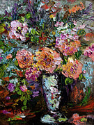 Peach Rose Posters - The Impressionists Heirloom Roses Still Life Poster by Ginette Callaway