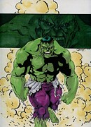 Bruce Banner Mixed Media Prints - The Incredible Hulk Print by Carlos Cabaleiro