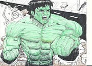 Super Hero Drawings - The Incredible Hulk Smashes Street by Brian Clark