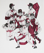 Baseball Glove Drawings - The Indians Glory Years-Late 90s by Joe Lisowski
