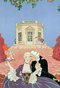 Outdoor Garden Prints - The Indolents Print by Georges Barbier