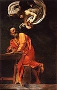 Caravaggio Painting Metal Prints - The Inspiration of Saint Matthew Metal Print by Pg Reproductions