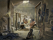 Huskies Framed Prints - The Interior of a Hut of a Mandan Chief Framed Print by Karl Bodmer
