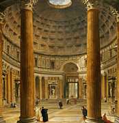 Entrance Door Painting Framed Prints - The Interior of the Pantheon Framed Print by Giovanni Paolo Panini