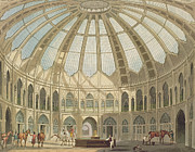 Wales Paintings - The Interior of the Stables by John Nash