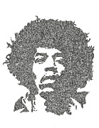 Jimi Hendrix Drawings - The Intricacies of Jimi Hendrix  by Kyle Van Zandbergen