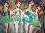 Ballet Dancers Paintings - The Irish Ballet company by Judith Desrosiers