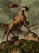 Paleoart Prints - The Irish Elk Print by Daniel Eskridge