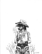 Cowboy Pencil Drawing Prints - The Iron Cowgirl Print by J Ferwerda