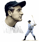Hall Drawings Framed Prints - The Iron Horse    Lou Gehrig Framed Print by Iconic Images Art Gallery David Pucciarelli