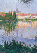 Pointillist Framed Prints - The Island at Lucas near Les Andelys Framed Print by Paul Signac