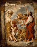 Israelites Prints - The Israelites Gathering Manna in the Desert Print by Peter Paul Rubens