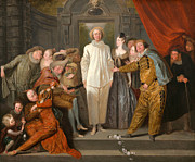 Famous Artists - The Italian Comedians by Antoine Watteau