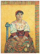 Portriat Prints - The Italian Woman Print by Vincent Van Gogh