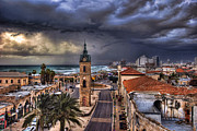 Winter Storm Posters - the Jaffa old clock tower Poster by Ronsho