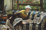 Lounging Framed Prints - The Japanese Scroll Framed Print by Tissot