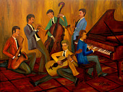 Sax Painting Originals - The Jazz Company by Larry Martin