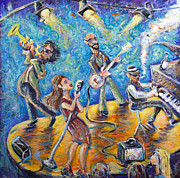 Jazz Painting Originals - The Jazz Lounge by Jason Gluskin