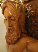 The Jesus Christ Sculpture Wood Work Wood Carving Poplar Wood Great For Church 3 Print by Persian Art
