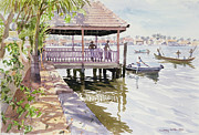 Canoes Paintings - The Jetty Cochin by Lucy Willis